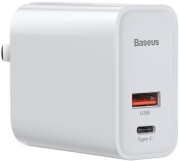 BASEUS UNIVERSAL USB TYPE-C WALL CHARGER PPS QC USB + PD 30W WHITE
