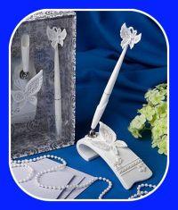 Beach themed wedding pen and holder set