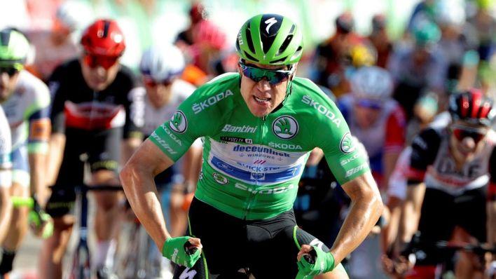 Fabio Jakobsen celebra una victoria de etapa. (Efe)
