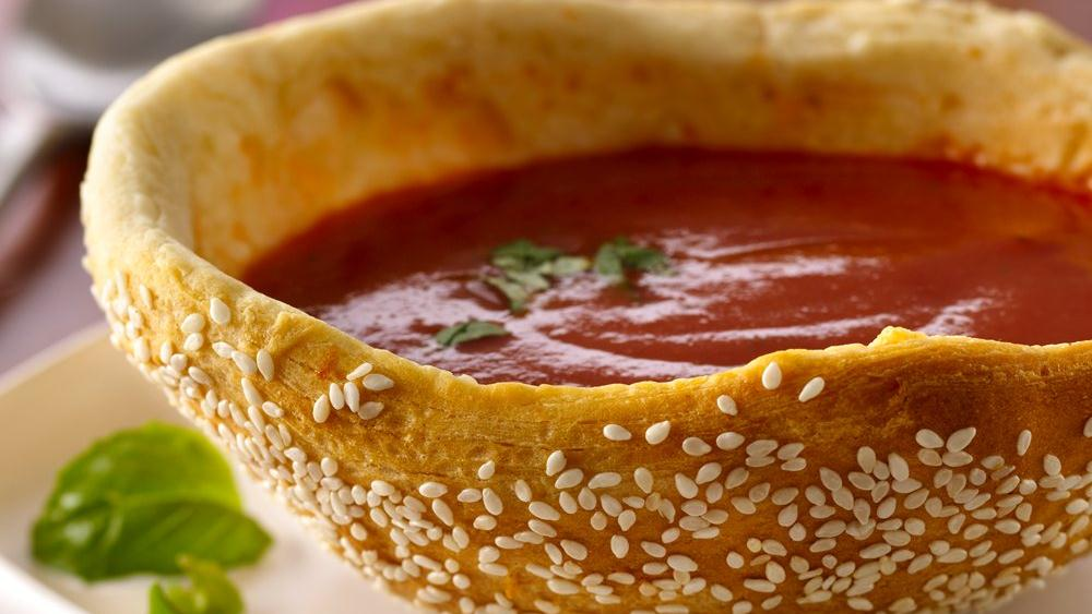 Tomato Basil Soup in Seeded Bread Bowls recipe from
