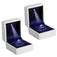 Diamond Ring Box White LED Light Velvet Jewelry Gift ...