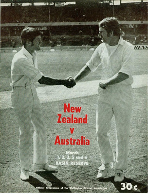 Programme: New Zealand v Australia, First Test, Basin Reserve, Wellington, 1, 2, 3, 5, 6 March 1974; Wellington Cricket Association; 1974; 2007.69.1
