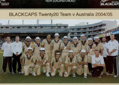 Photo: New Zealand Twenty20 Cricket Team v Australia, Eden Park, Auckland, 17 February 2005; Photosport; 17 FEB 2005; 2005.33.35