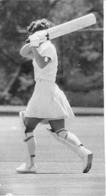 Photo: Trish McKelvey batting, c.1966; 2018.5.36