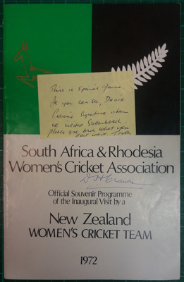 Official Souvenir Programme: New Zealand Women's Cricket Team in South Africa 1972 ; South Africa & Rhodesia Women's Cricket Association; C.1972; 2018.8.11
