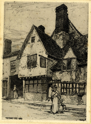 The Boot Inn, 1889: etching