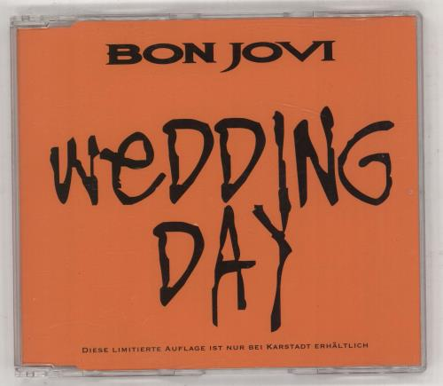 """Bon Jovi Wedding Day - Orange Sleeve, Black Titles CD single (CD5 / 5"""") German BONC5WE83592"""
