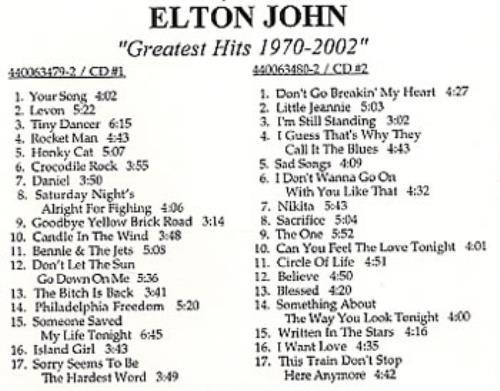 Elton John Greatest Hits 1970-2002 US CD-R acetate (229513)