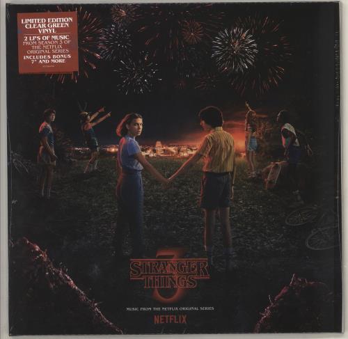 """Original Soundtrack Stranger Things 3 - Green Vinyl + Bonus 7"""" - Sealed 2-LP vinyl record set (Double Album) UK OST2LST726975"""
