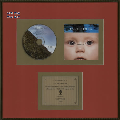 Paul Simon Surprise in-house award disc UK PSIAISU600927