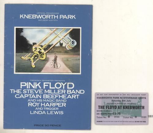 Pink Floyd Knebworth '75 + Ticket Stub tour programme UK PINTRKN675892