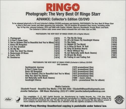 Ringo Starr Photograph: The Very Best Of US Promo 2-disc