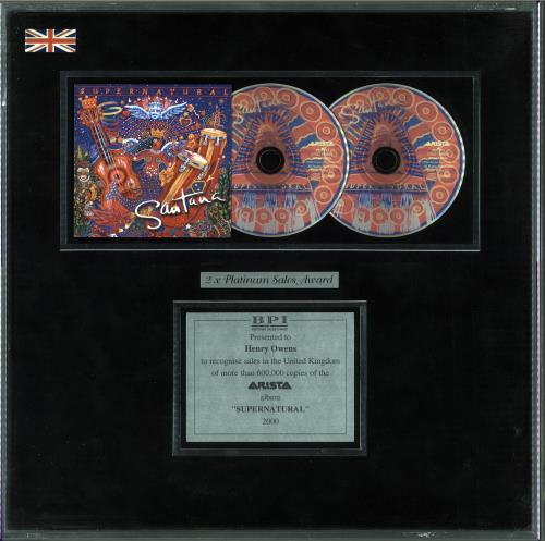 Santana Supernatural award disc UK SNTAWSU345852