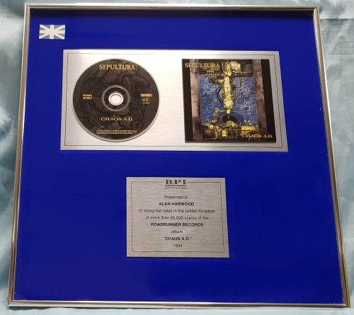 Sepultura Chaos A.D. - CD award disc UK SEPAWCH697541