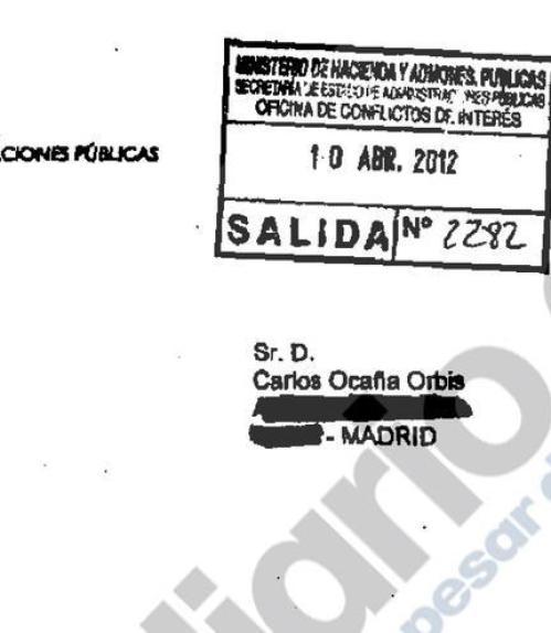 Autorización de la Oficina de Conflicto de Intereses para permitir a Carlos Ocaña trabajar en Seat Group
