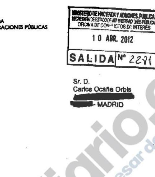 Autorización de la Oficina de Conflicto de Intereses para permitir a Carlos Ocaña trabajar en Endesa