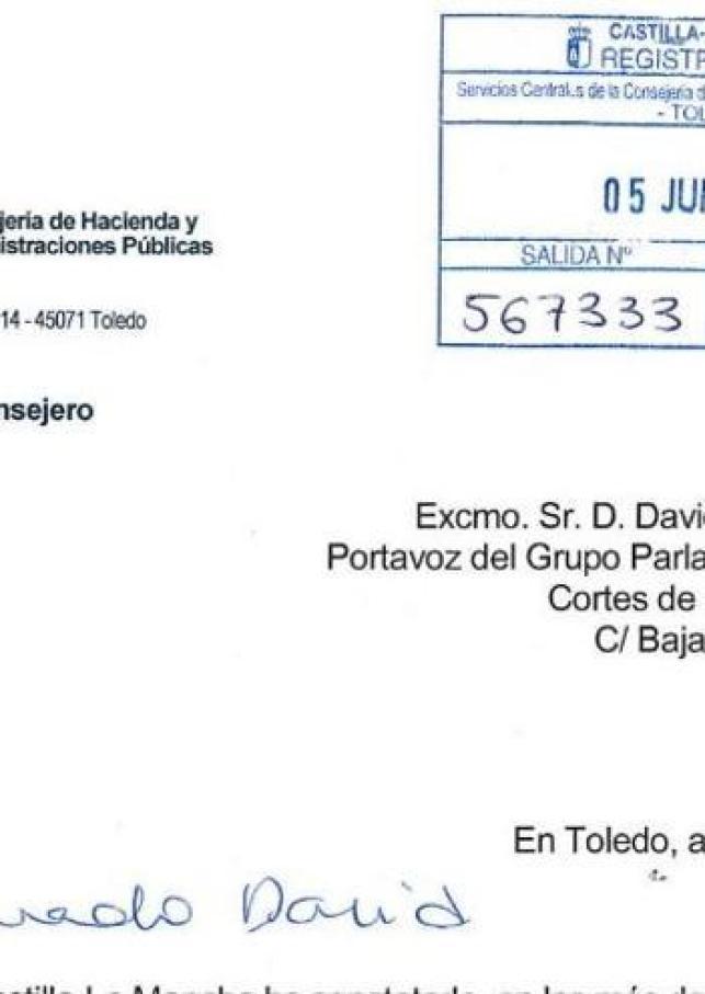 Carta del Gobierno de Emiliano García-Page a los tres grupos parlamentarios
