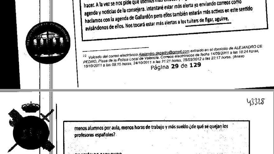 Extracto de uno de los correos de la red de De Pedro sobre las consignas que pidió difundir la Consejería de Educación de Fígar.