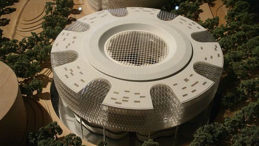 Maqueta de uno de los edificios diseñados por Norman Foster para el Campus de la Justicia.