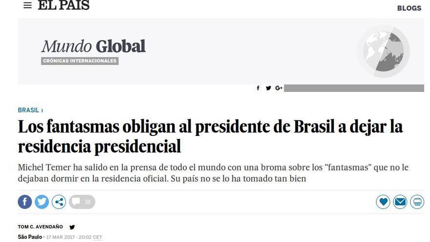 Noticia de El País sobre Brasil.