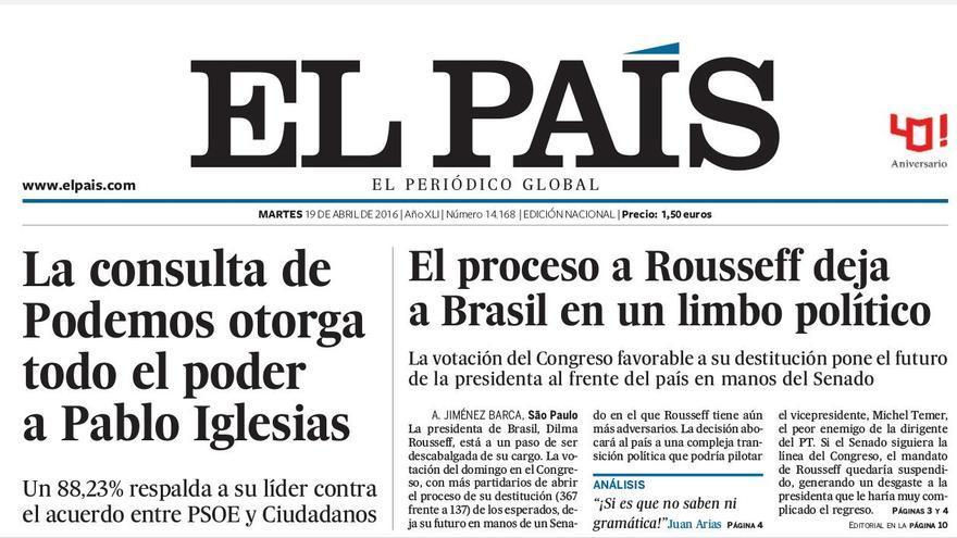"""""""La consulta de Podemos otorga todo el poder a Pablo Iglesias"""", en El País"""