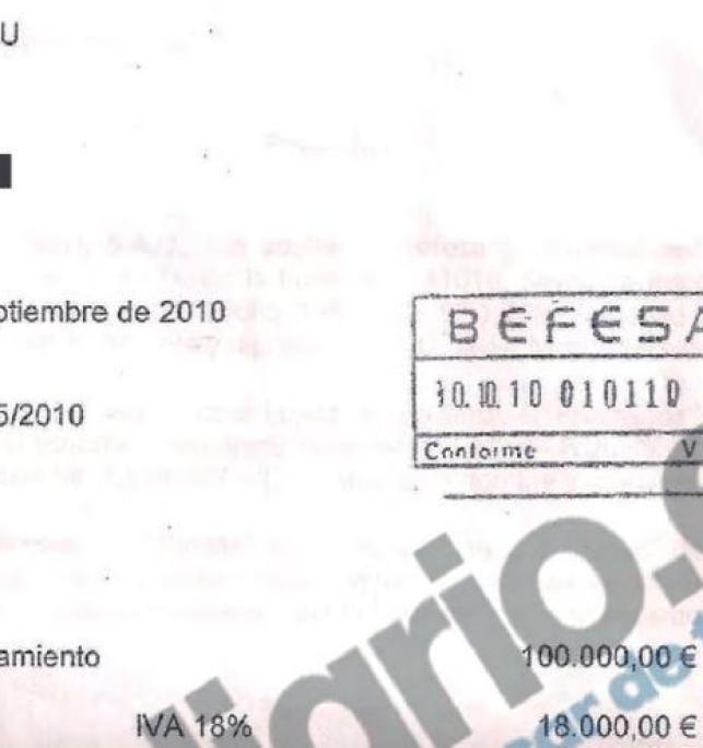 Factura de José María Aznar con Befesa