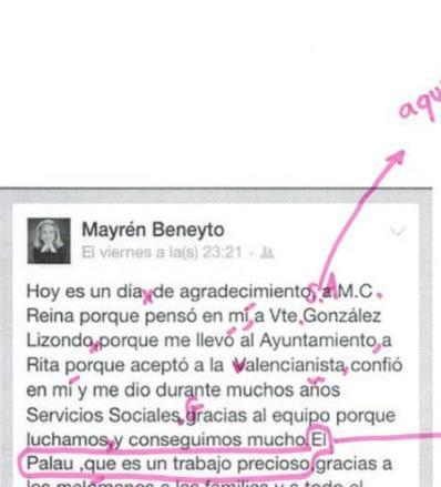 El texto de despedida de Mayrén Beneyto, corregido por una profesora de Lengua y Literatura