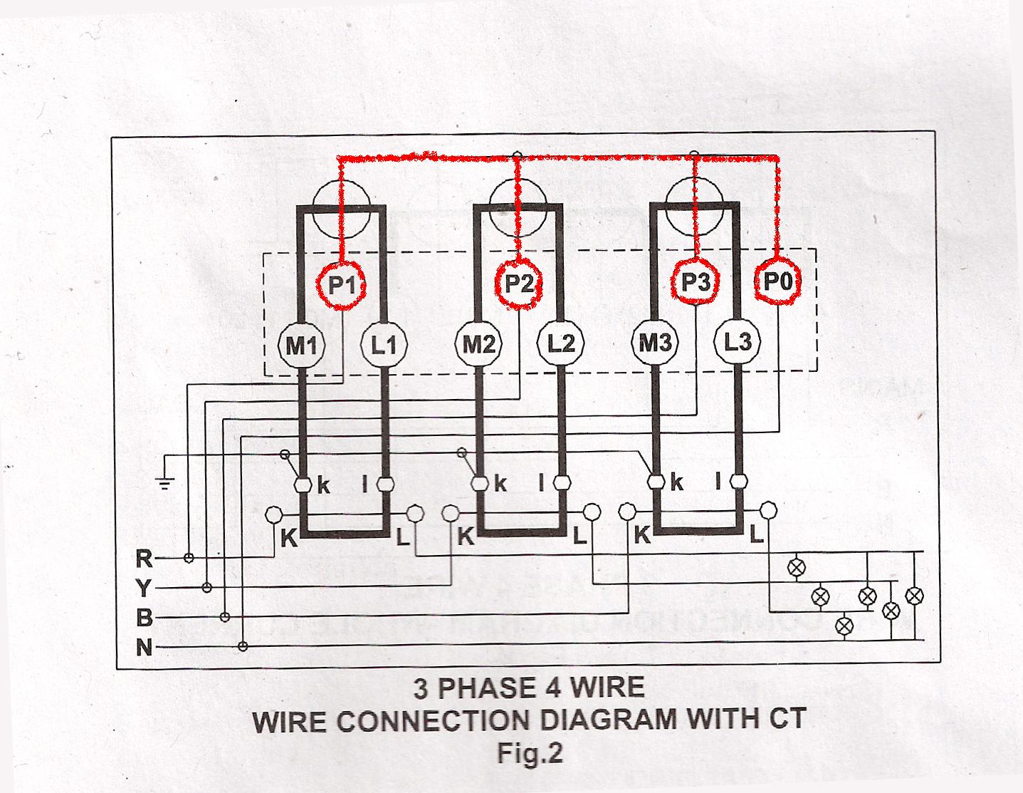 3 Phase 4 Wire Connection for L&T Whole Current Meter