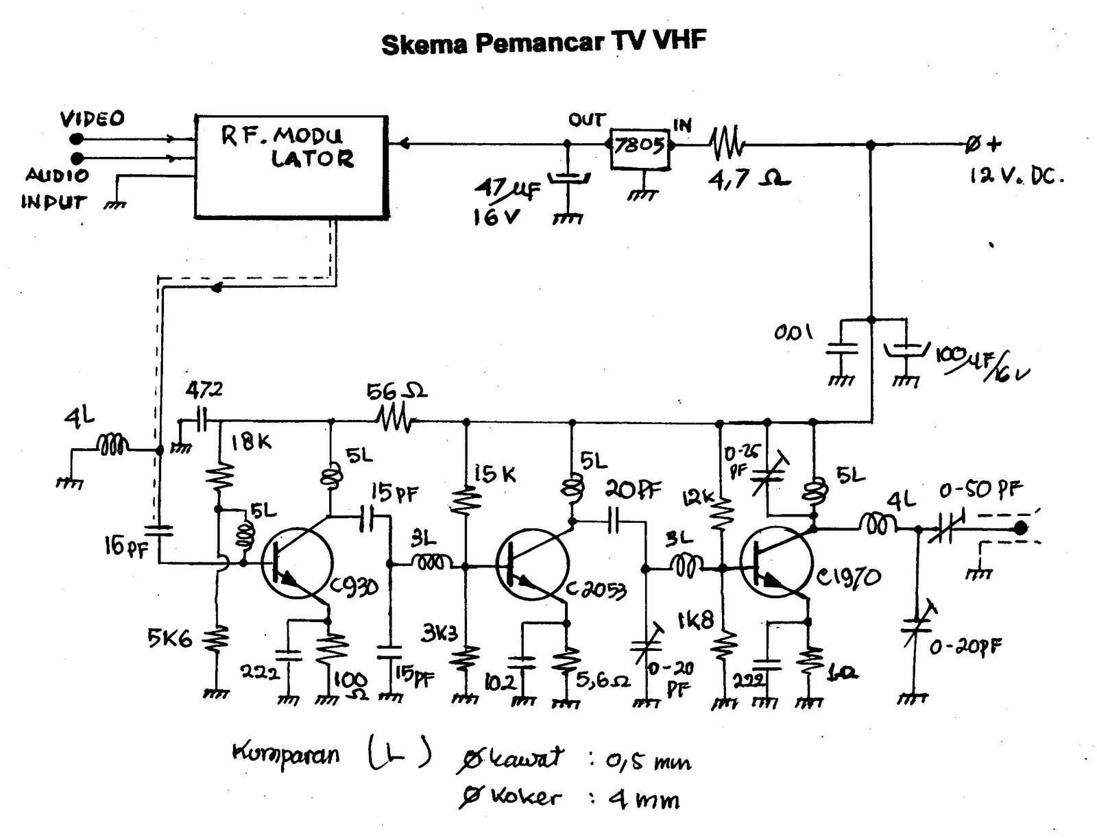 rf modulator hookup diagram wiring for a 4 way switch how to wire fm amplifier vhf tv
