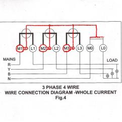 3 Phase Electric Meter Wiring Diagram Parts Of A Wave 4 Wire Connection For L Andt Whole Current