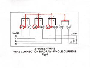 3 Phase 4 Wire Connection for L&T Whole Current Meter