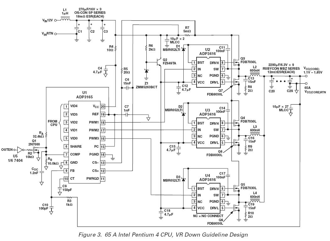 845WN motherboard processor power circuit