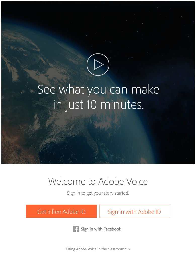 Starting Adobe Voice