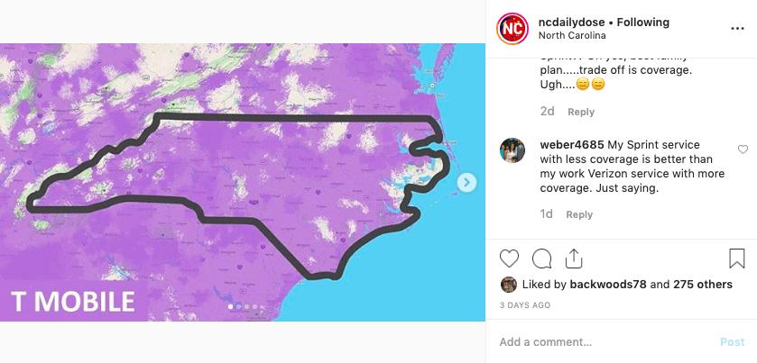 Coverage Sprint Carolina Map North