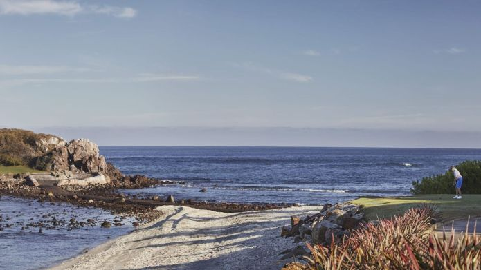 Designed by Jack Nicklaus, hole 3B, also known as the Tail of the Whale, is the only green in the world located on a natural island.