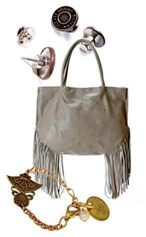 Adjust a Button, Linea Pelle Fringe Bag, Twisted Silver Bracelet