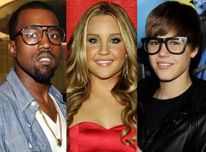 Amanda Bynes, Kanye West, Justin Bieber