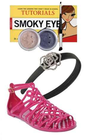 Bare Minerals Eye Kit, Forever 21 Headband, Diane von Furstenberg Jellies