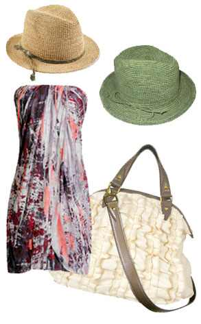 Hat Attack Fedora, Three Dots Bandeau Dress, Hemptress Satchel