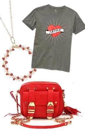 Gap Japan Relief Heart T-Shirt, Mai Flores Rising Sun Necklace, Rebecca Minkoff BF Pouch