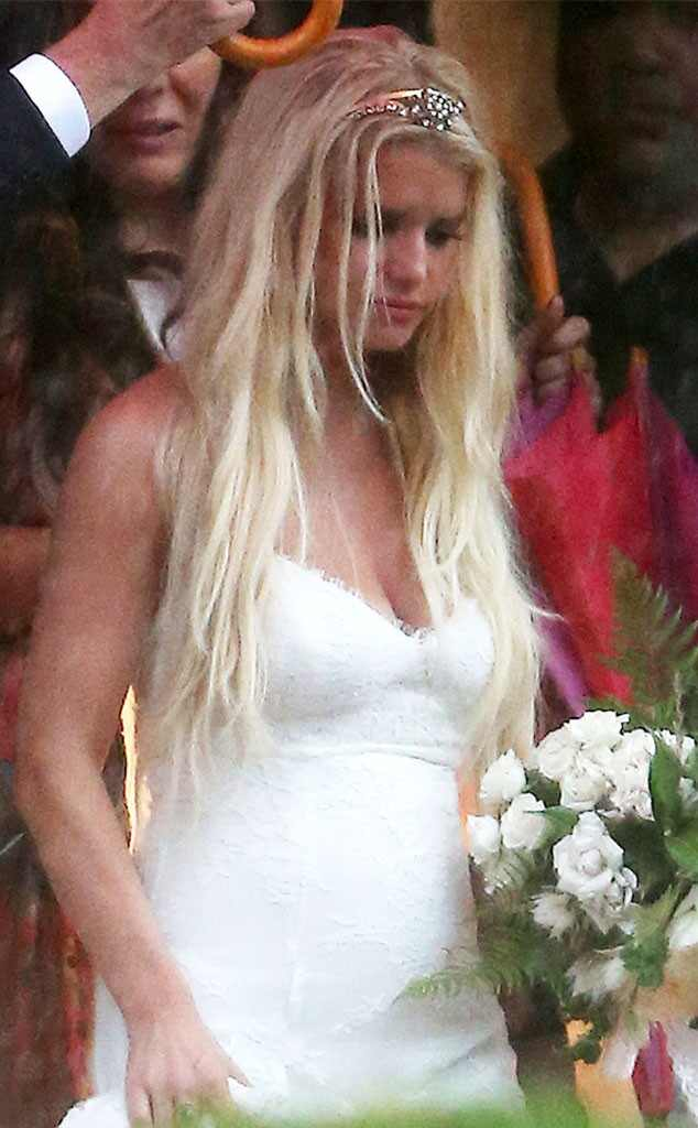 Jessica Simpson Looks Slim Sexy in White Bridesmaid Dress at Ashlee Simpsons WeddingSee the
