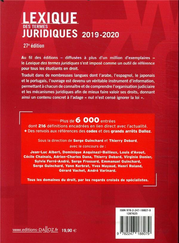 Lexique Des Termes Juridiques (édition 2019/2020) - Serge Guinchard,  Thierry Debard - Dalloz - Grand Format - Librairie Gallimard PARIS