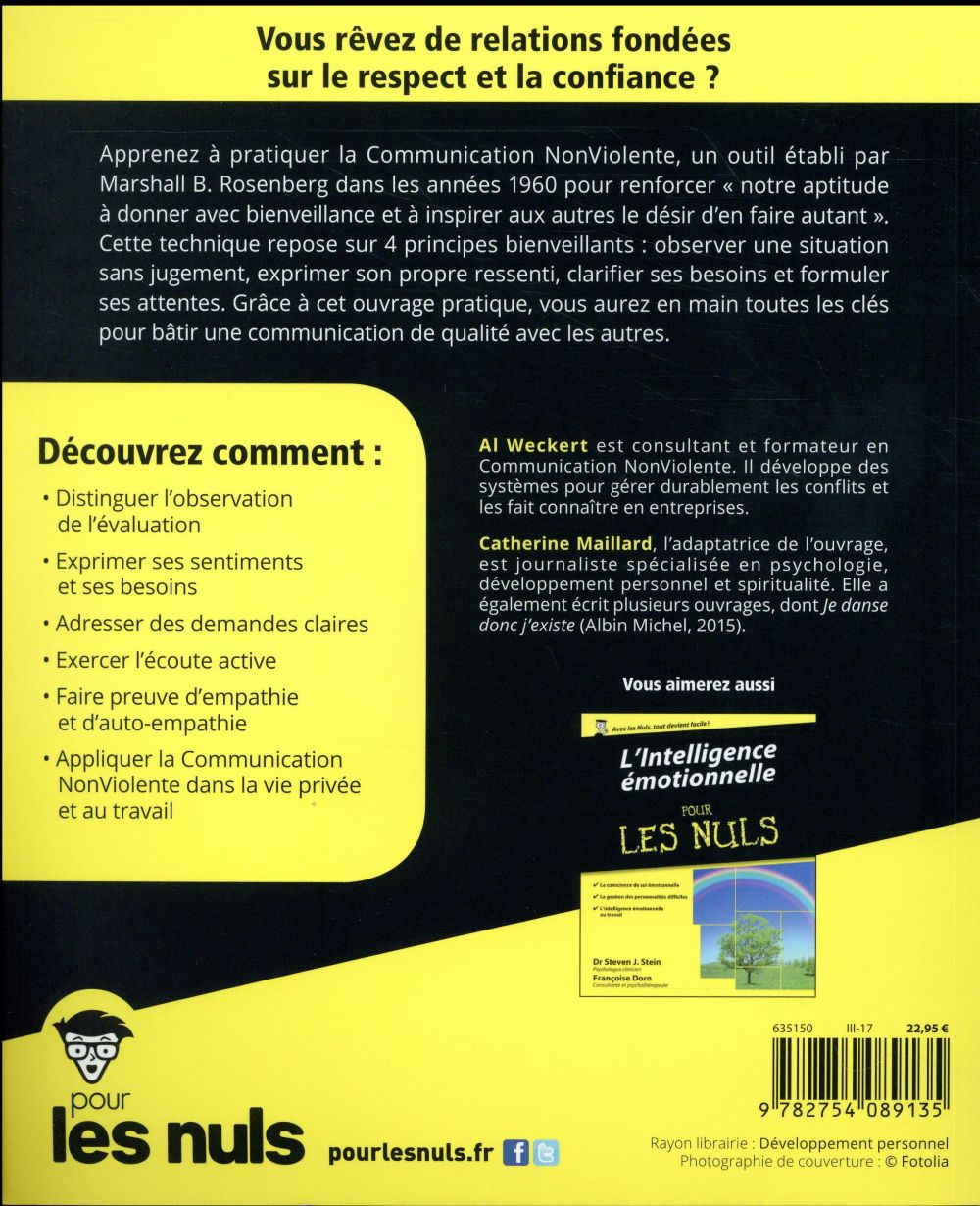 La Communication Pour Les Nuls : communication, Communication, Non-violente, Weckert,, Catherine, Maillard, First, Grand, Format, Livre, NANCY