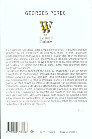 Georges Perec W Ou Le Souvenir D Enfance : georges, perec, souvenir, enfance, Souvenir, D'enfance, Georges, Perec, Gallimard, Grand, Format, Librairie, PARIS