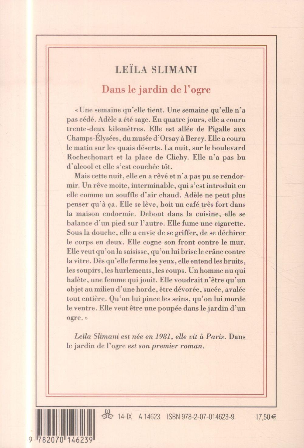 Dans Le Jardin De L'ogre : jardin, l'ogre, Jardin, L'ogre, Leïla, Slimani, Gallimard, Grand, Format, Paris, Librairies