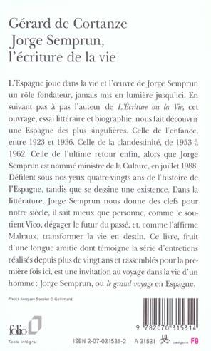 Semprun L'écriture Ou La Vie : semprun, l'écriture, Jorge, Semprun,, L'ecriture, Gérard, Cortanze, Gallimard, Poche, Librairie, PARIS