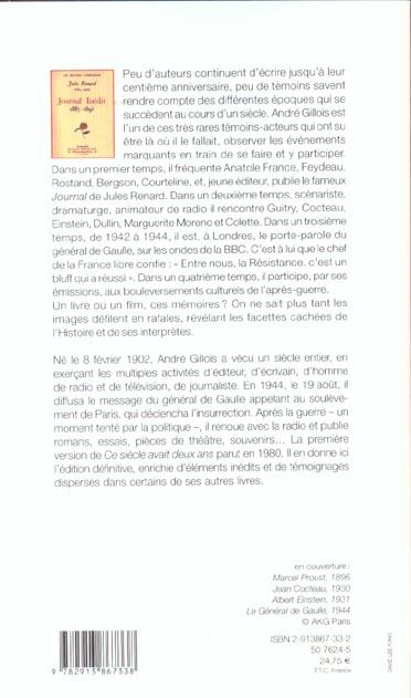 Ce Siecle Avait 2 Ans : siecle, avait, Siècle, Avait, Mémoires, André, Gillois, Memoire, Livre, Grand, Format, NANCY