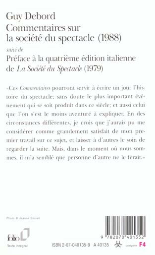 Commentaires Sur La Société Du Spectacle : commentaires, société, spectacle, Commentaires, Societe, Spectacle, (1988), Preface, Quatrieme, Edition, Italienne, Debord, Gallimard, Grand, Format, Livre, NANCY