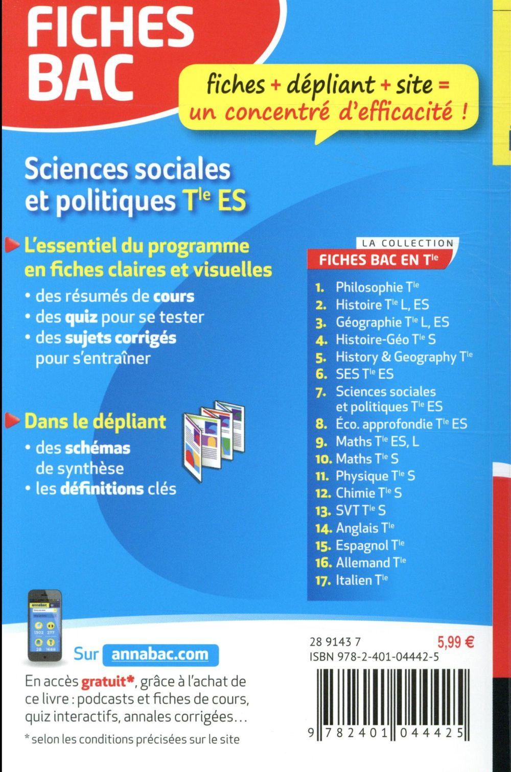Sciences Sociales Et Politiques Terminale Es Bac : sciences, sociales, politiques, terminale, Fiches, Sciences, Sociales, Politiques, Terminale, Franck, Rimbert, Hatier, Poche