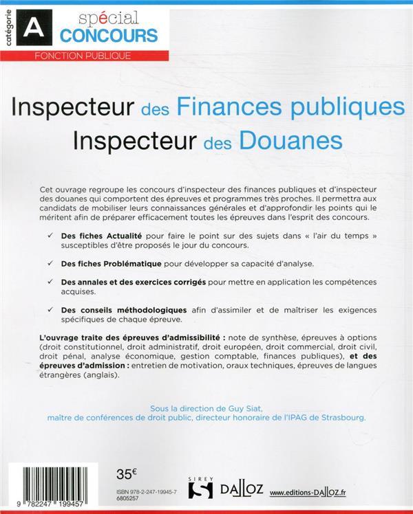 Annales Concours Inspecteur Des Finances Publiques : annales, concours, inspecteur, finances, publiques, Inspecteur, Finances, Publiques, Douanes, Siat,, Collectif, Dalloz, Grand, Format, Librairie, PARIS